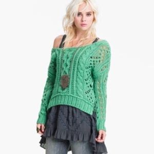 Free People Chunky Cable Wool Blend Sweater Aqua